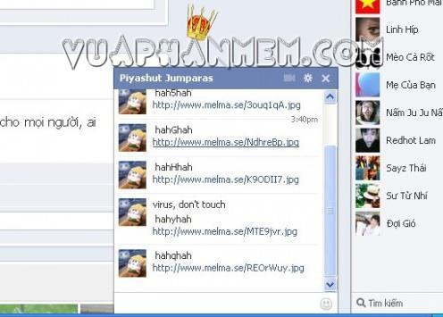 virus trên facebook lây lan vào máy tính